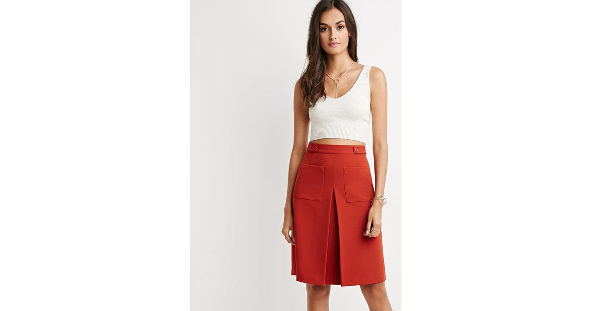 Forever 21 Inverted Front-pleat A-line Skirt in Brown | Lyst