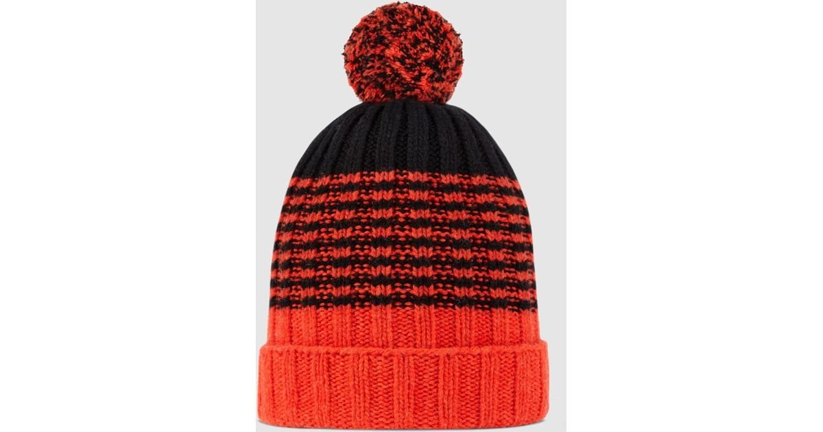 887ddba00fc Gucci Striped Wool Knit Hat in Black for Men - Lyst