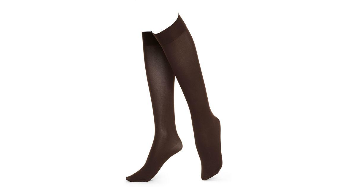 851aee7eb90 Hue Soft Opaque Knee High Socks in Brown - Lyst