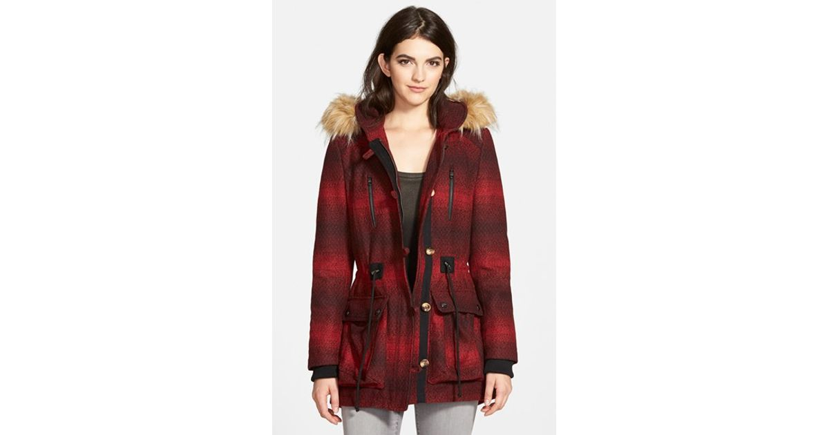 Steve madden &39Red Stripe&39 Hooded Duffle Coat With Faux Fur Trim in