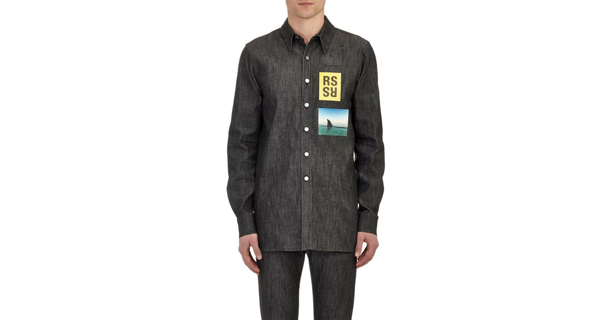 ec3f961ca49 Raf Simons Shark Print Denim Shirt in Black for Men Lyst