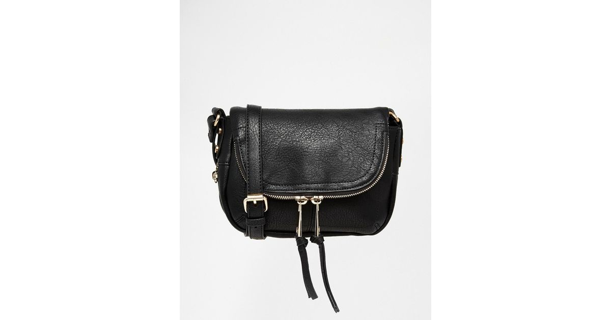 9bcc05644e1dc7 Oasis Fold Over Zip Detail Cross Body Bag in Black - Lyst