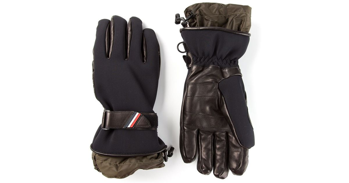 f946d4481 Lyst - Moncler Grenoble Strapped Bicolour Gloves in Black for Men