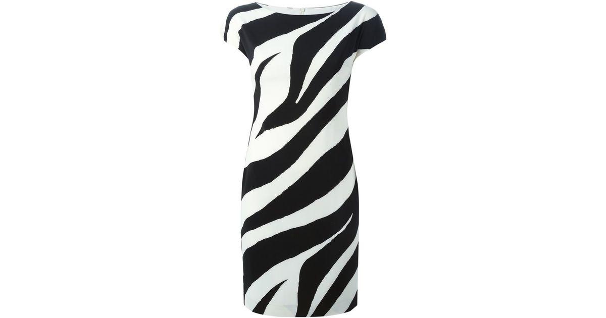Lyst boutique moschino zebra striped dress in black jpeg 1200x630 Zebra  patterned dress c1517eb86