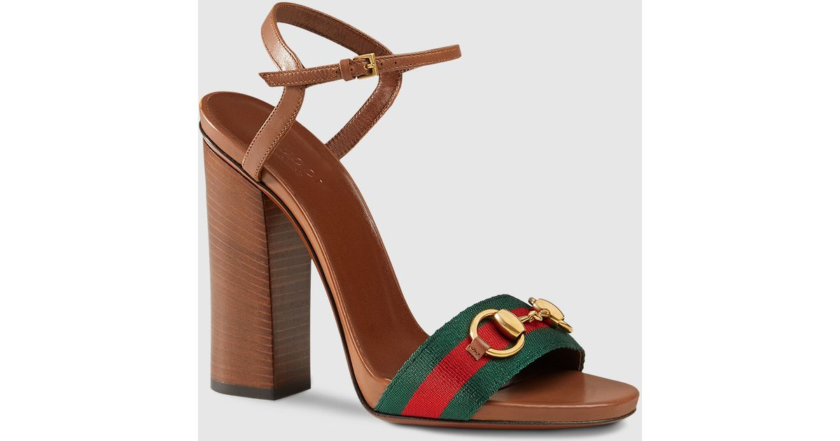 026426986c0c Lyst - Gucci Leather Sandal With Web in Brown