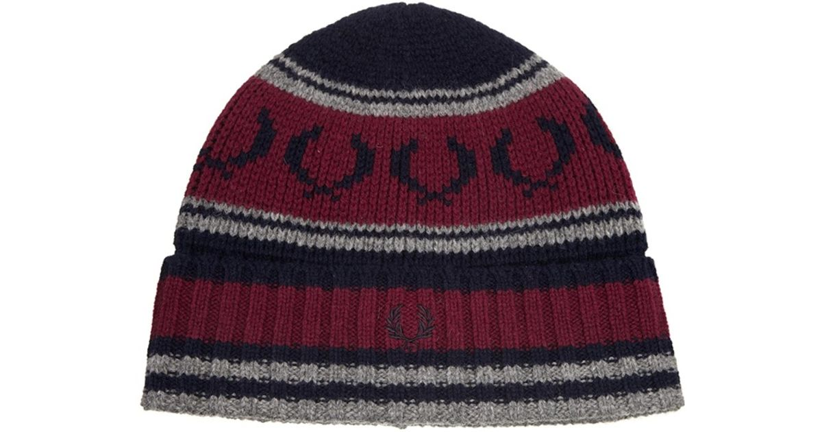Lyst - Fred perry Fairisle Knit Beanie in Red for Men