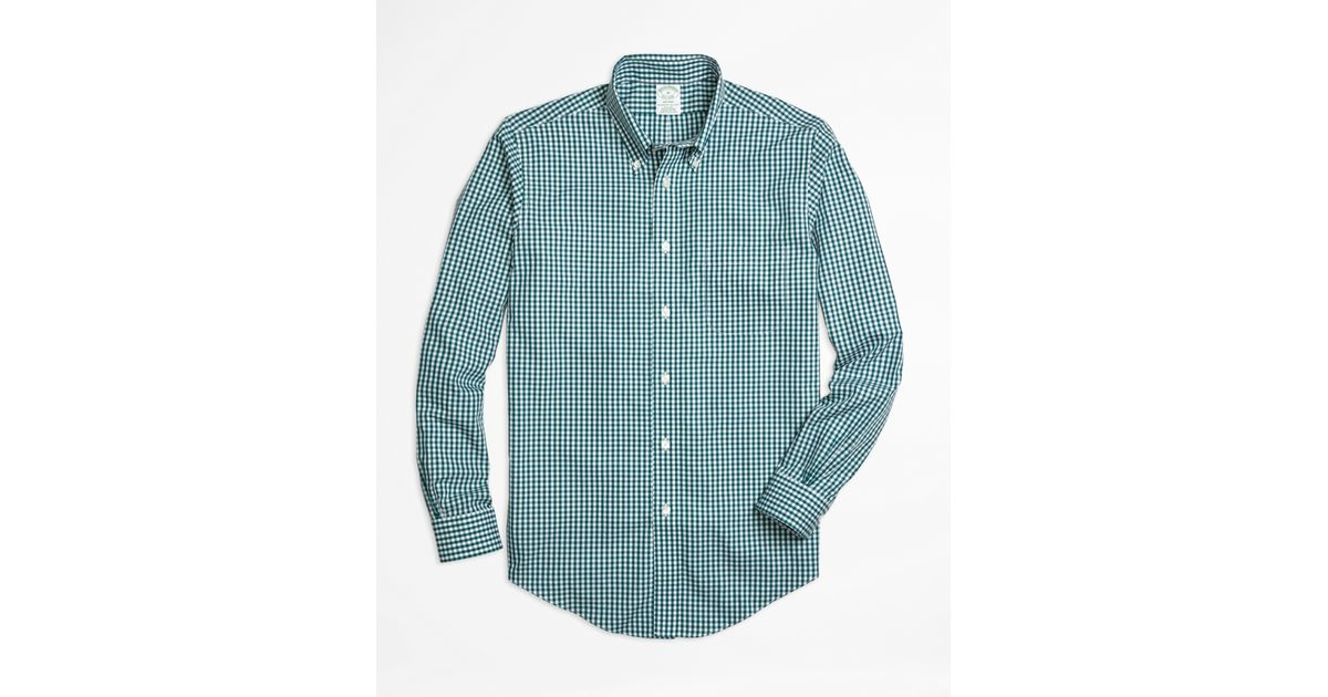 Brooks brothers non iron milano fit gingham sport shirt in for Brooks brothers sports shirts