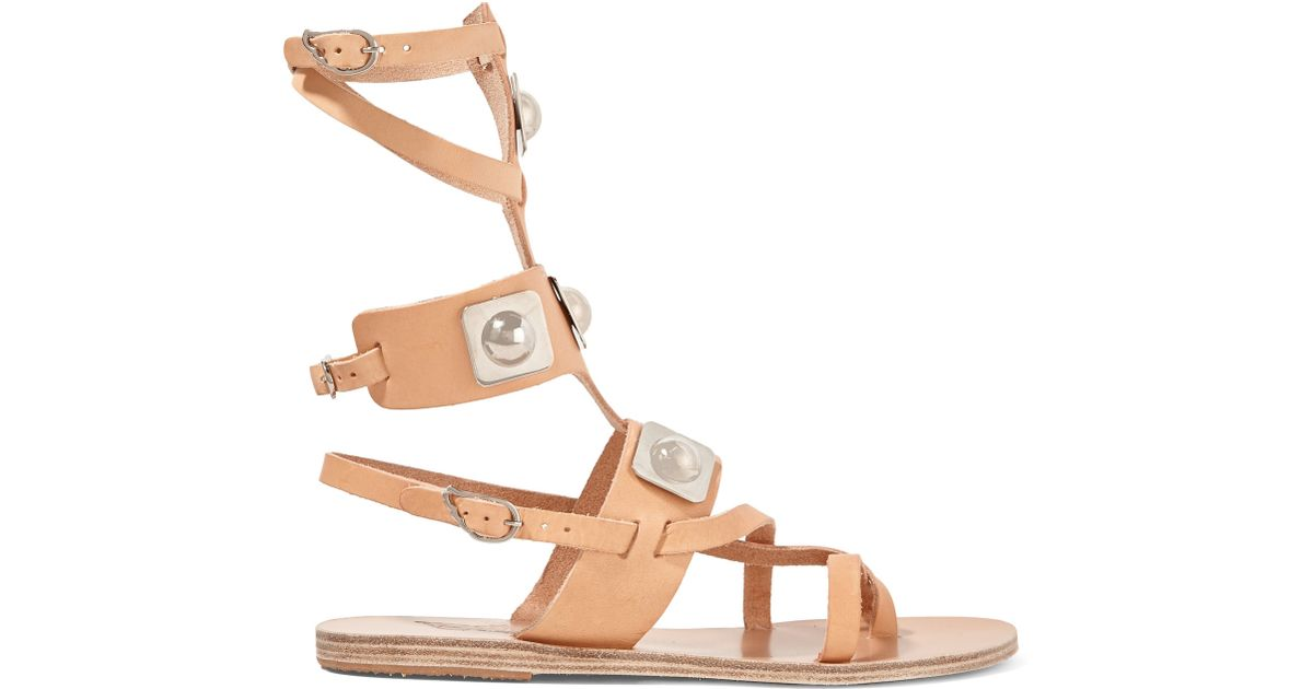 fd3cfd1d71e0e Ancient Greek Sandals - Natural - + Peter Pilotto Embellished Leather  Gladiator Sandals - Lyst