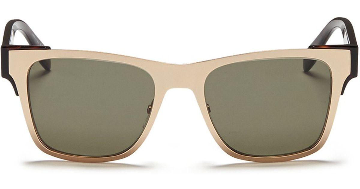 b5cf3f9c5be Alexander McQueen Metal Front Frame Acetate Sunglasses in Metallic for Men  - Lyst