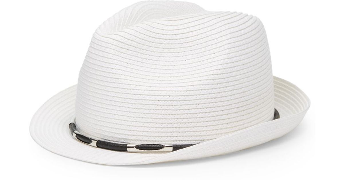 Lyst - Vince Camuto Leather Metal Straw Fedora Hat in White e4c0c4dca8f