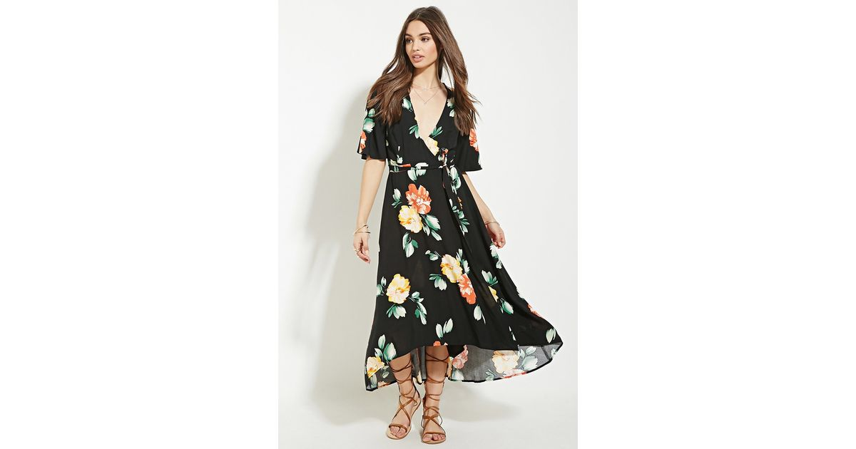 Lyst Forever 21 Floral Print Wrap Midi Dress In Black