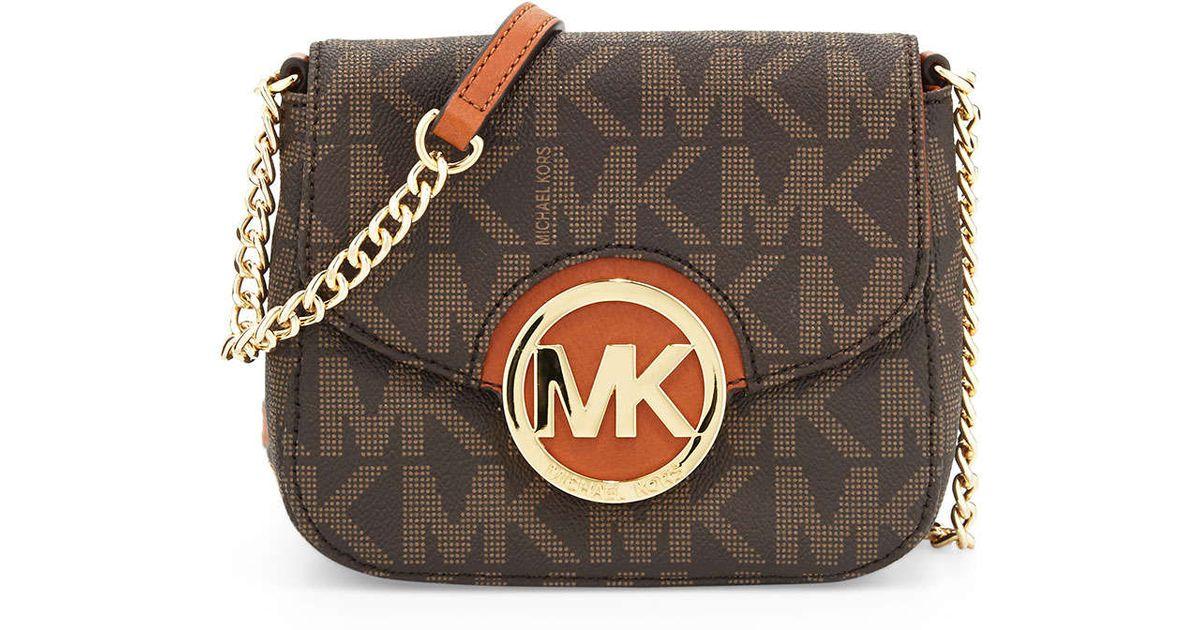 110755b6122b Lyst - MICHAEL Michael Kors Small Fulton Logo Crossbody Bag in Brown