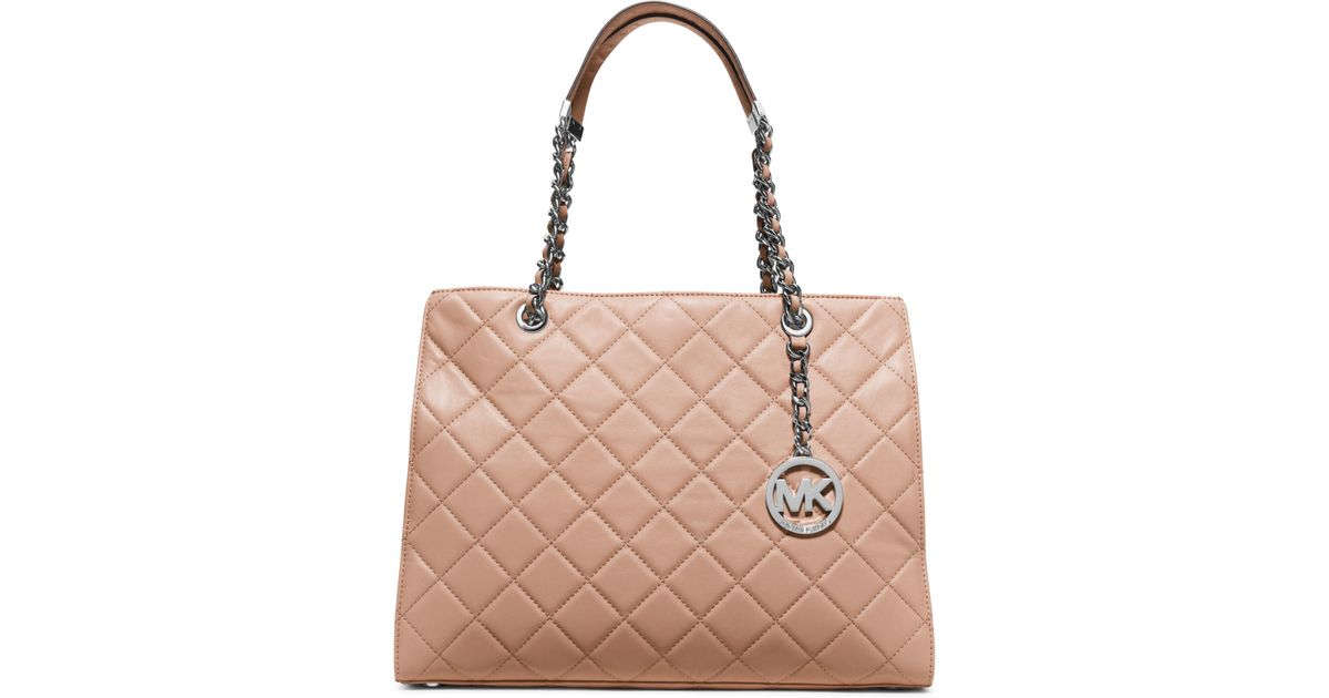 4d64fc53f03d Michael Kors Susannah Large Quilted-leather Tote in Gray - Lyst