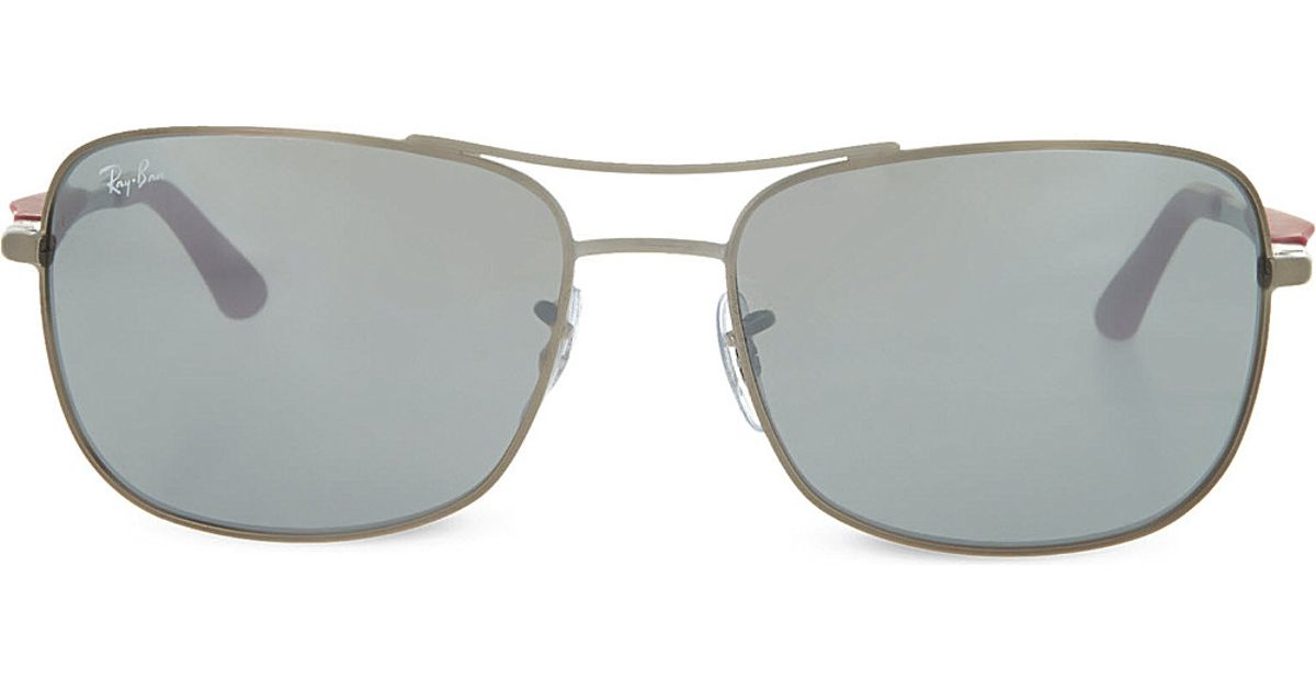 8e08ccc10a47 Lyst - Ray-Ban Matte Gunmetal Square Sunglasses With Red Arms And Mirrored  Grey Lenses Rb3515 61 in Metallic