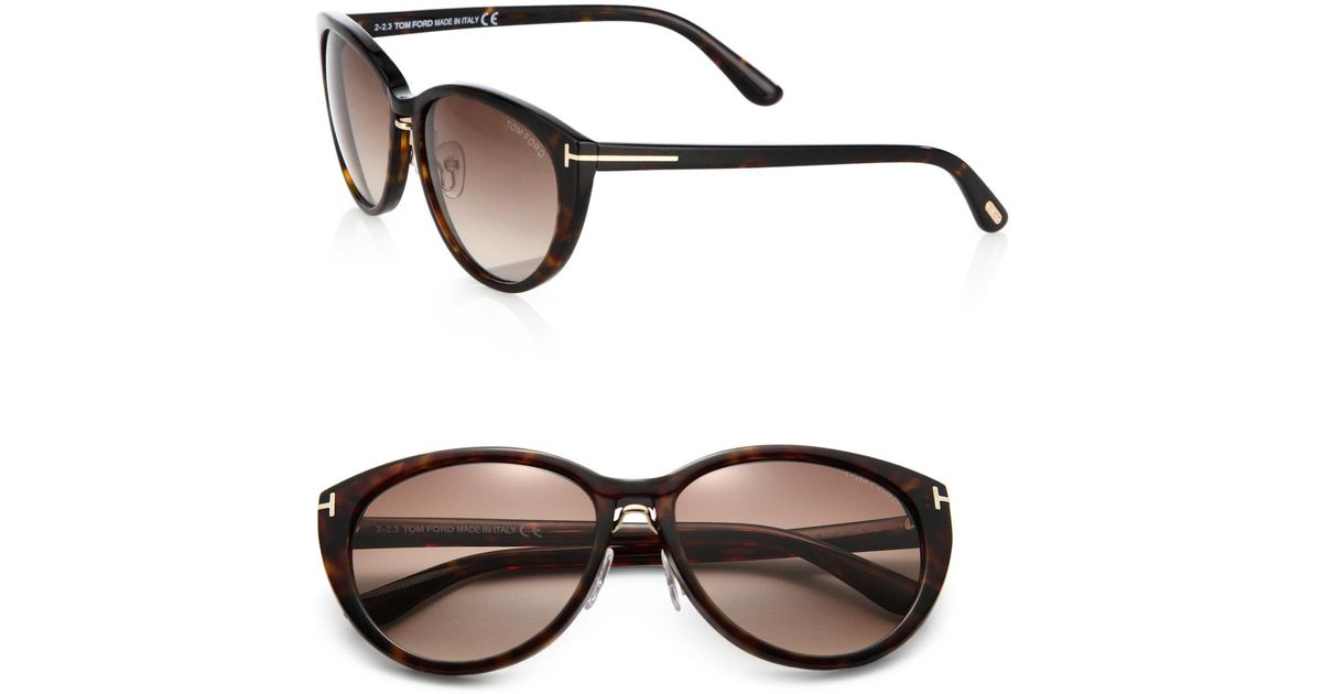 dde31cbd32a Lyst - Tom Ford Gina Cat s-eye Sunglasses in Brown