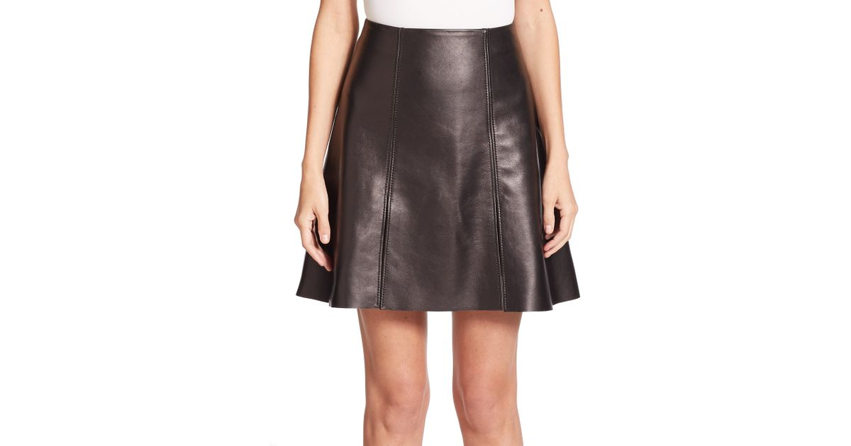 acne studios leala flared leather skirt in black lyst