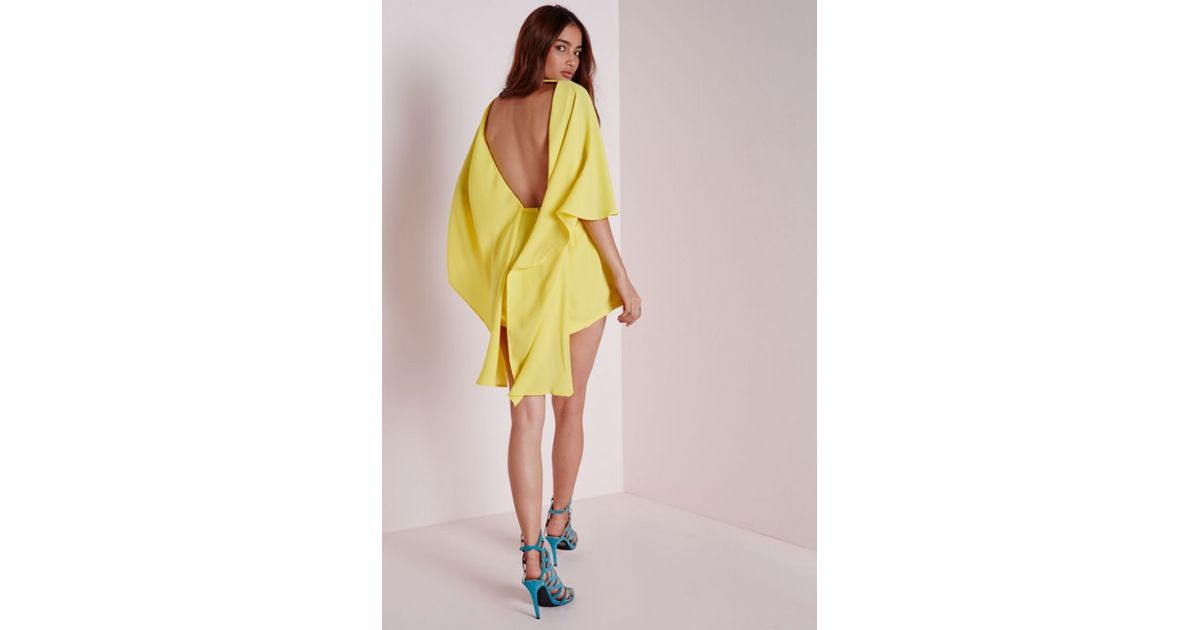 82d07bc2d0 Lyst - Missguided Chiffon Cape Playsuit Yellow in Yellow