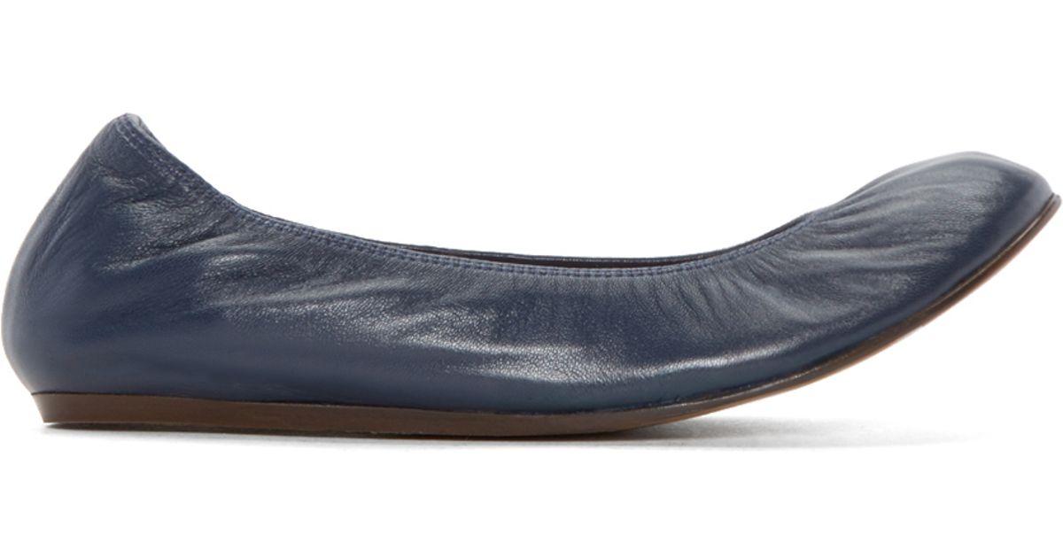 87de01bc3960 Lyst - Lanvin Navy Leather Ballerina Flats in Blue