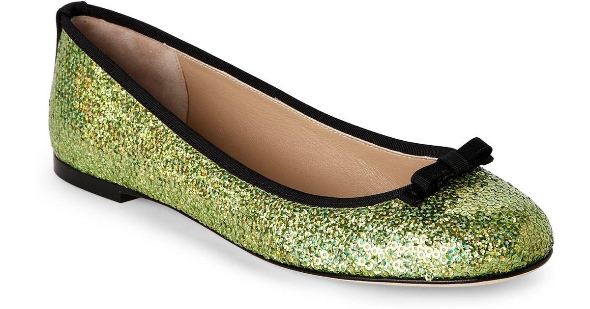 627ca8722e41 Lyst - Dolce   Gabbana Green Sequin Ballet Flats in Green