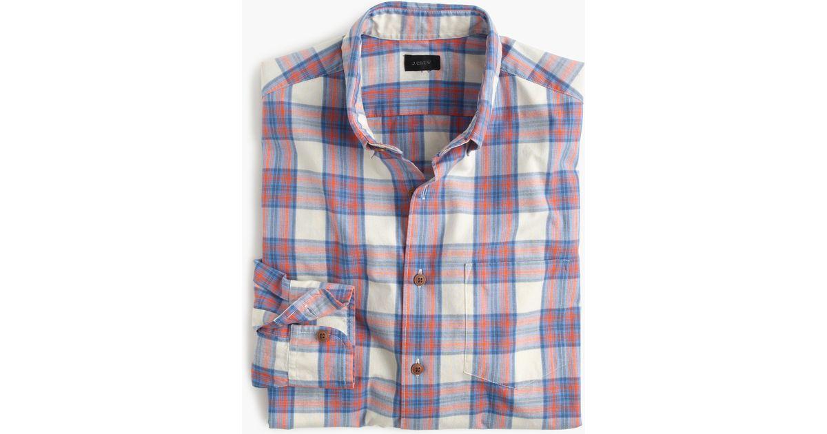 Lightweight cotton shirt in orange plaid in blue for Lightweight plaid shirt womens