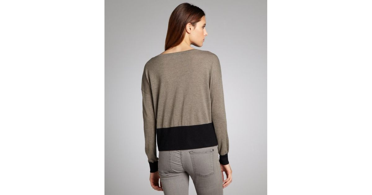 autumn cashmere taupe and black cashmere colorblock pocket