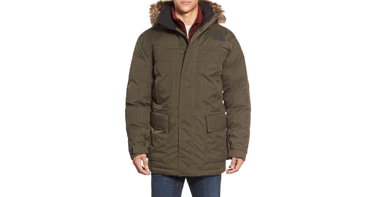 the north face 39 mcmurdo parka ii 39 waterproof goose down coat with faux fur trim in brown for men. Black Bedroom Furniture Sets. Home Design Ideas
