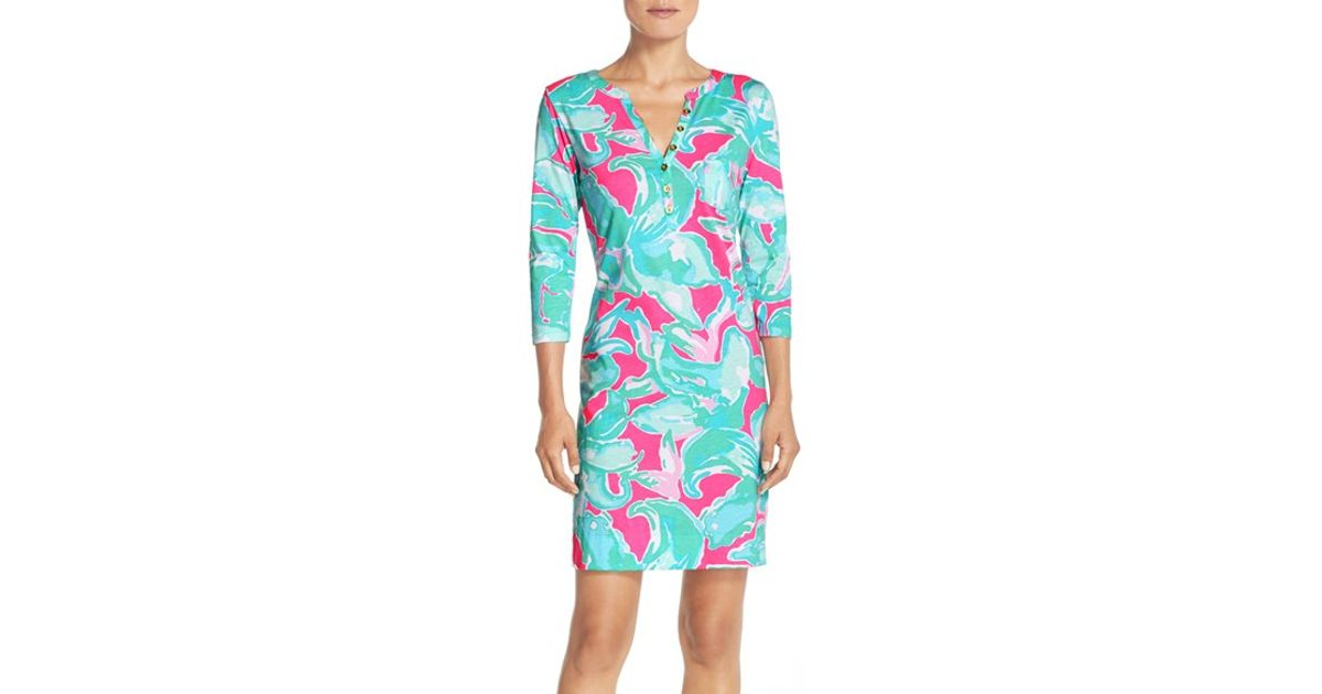 a7d78c73a18 Lyst - Lilly Pulitzer  flip Flop  Print Pima Cotton Shirtdress in Pink