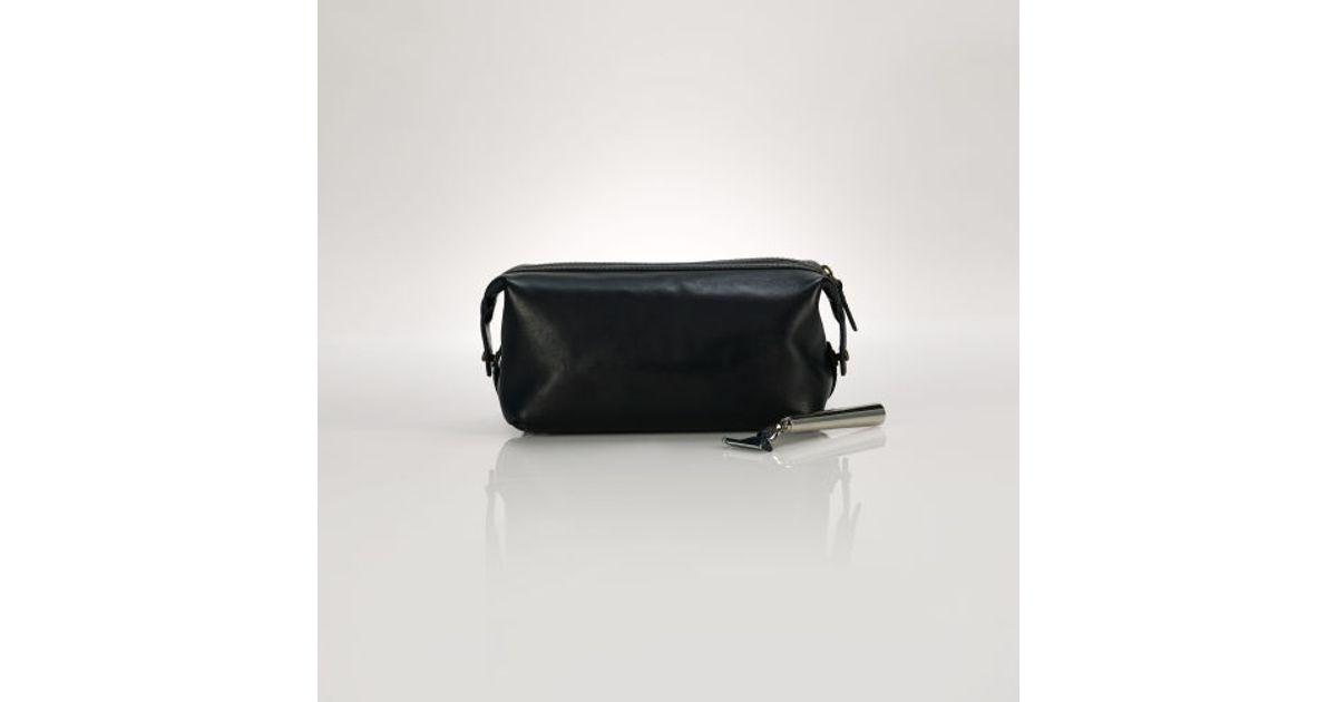 bf7137c1d0ff Lyst - Polo Ralph Lauren Leather Shaving Bag in Black for Men