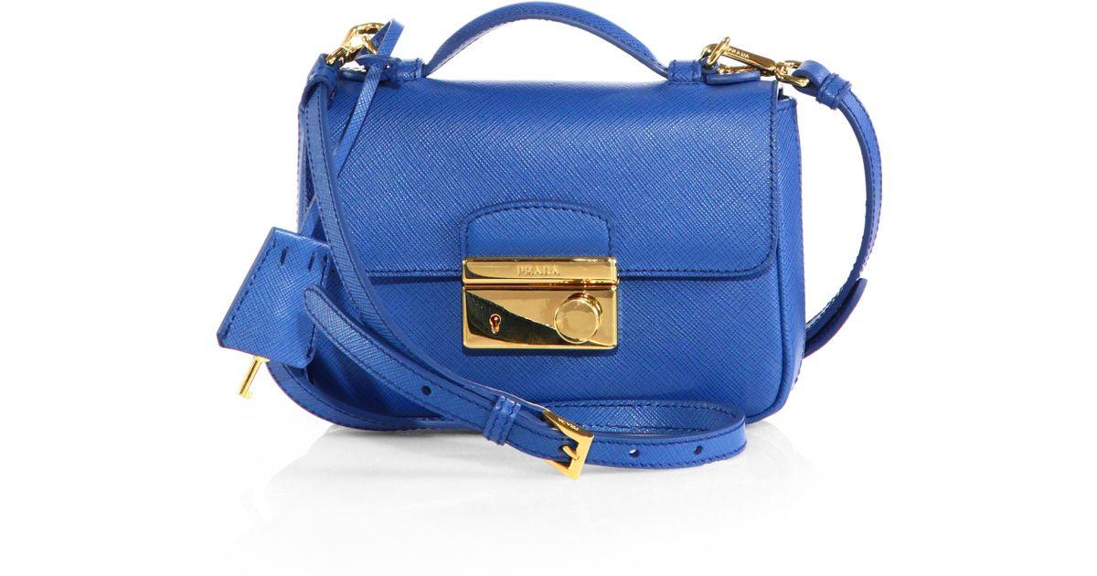 f10b8be470b3dc Prada Saffiano Leather Mini Flap Crossbody Bag in Blue - Lyst