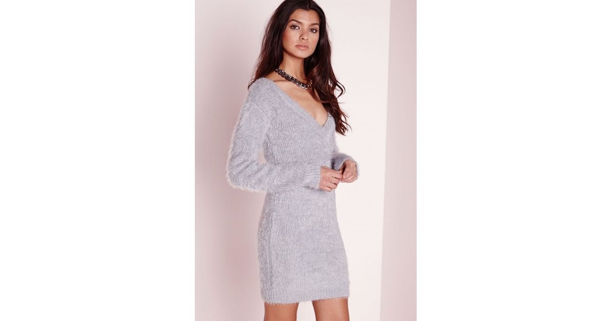 34780d22cdd5 Lyst - Missguided Fluffy V Neck Off Shoulder Dress Grey in Gray