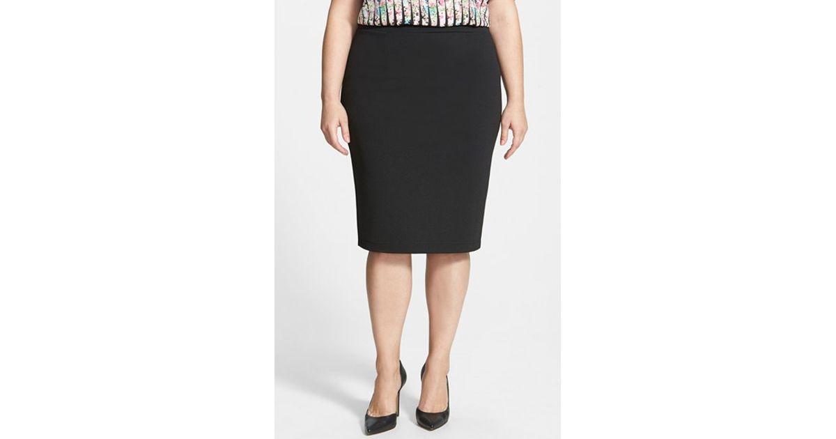 441dd24e214 Lyst - Halogen Zip Back Knit Pencil Skirt in Black