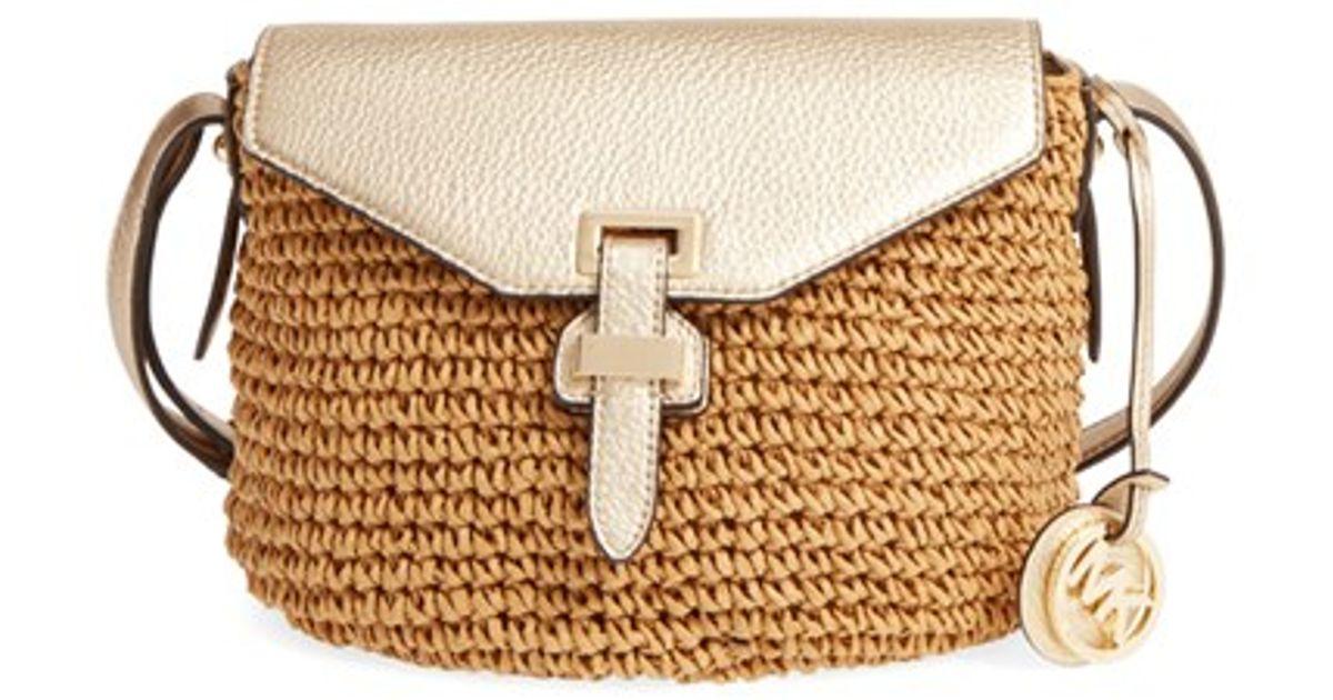 e20af5672a9b Lyst - MICHAEL Michael Kors Medium Naomi Straw Cross-Body Bag in Brown