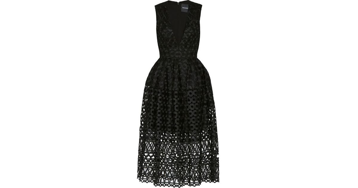 Lyst Nicholas Midi Ball Lace Dress In Black