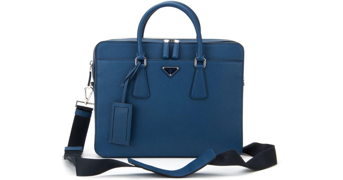 Prada Saffiano Travel Bag in Blue for Men (BLUETTE) | Lyst