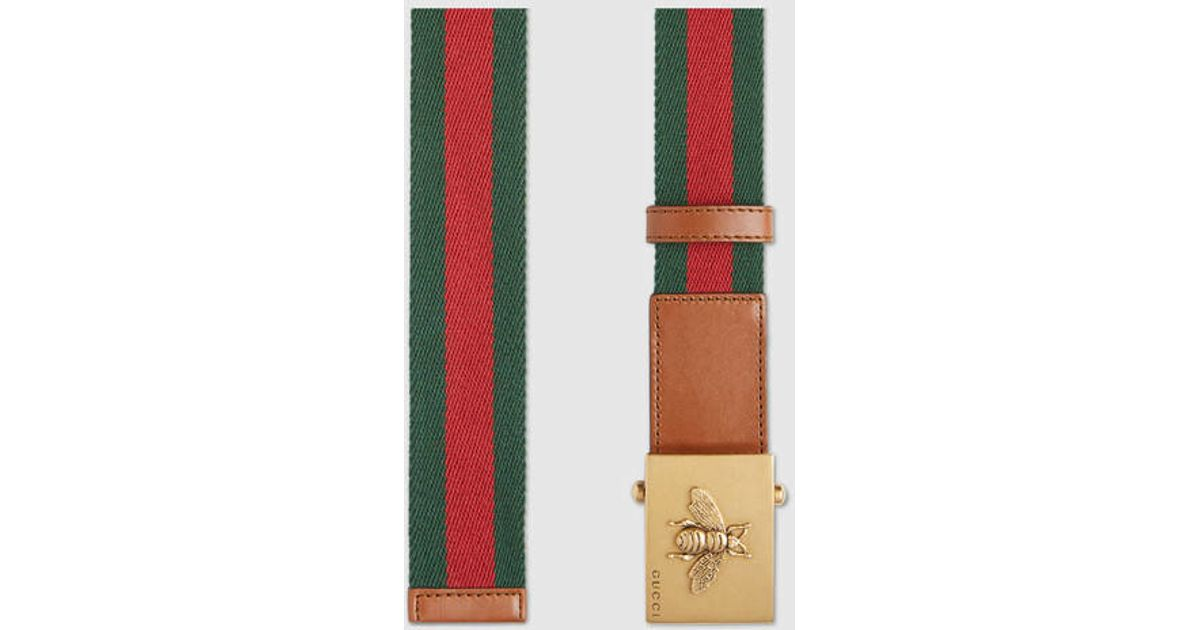 68d0383c6 Gucci Canvas Web Belt With Bee Buckle in Green for Men - Lyst