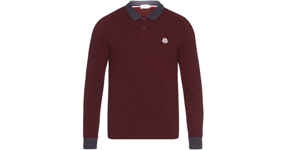 91f126fbadf3 Moncler Contrast-collar Cotton-piqué Polo Shirt in Purple for Men - Lyst