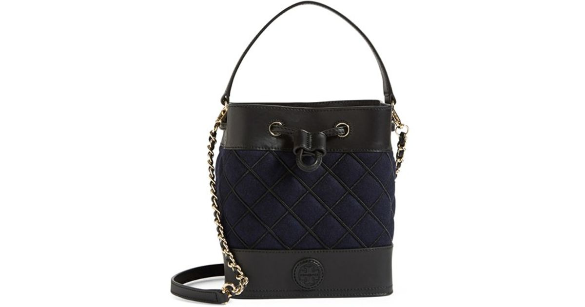 4d92f723c2 Tory Burch Mini Marion Quilted Leather Bucket Bag in Blue - Lyst