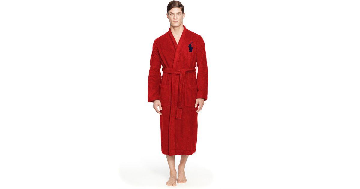 Polo Ralph Lauren Cotton Terry Kimono Robe in Red for Men - Lyst 44da7ca4d