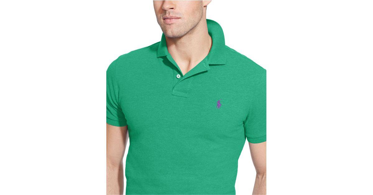 838d84083 Polo Ralph Lauren Custom-fit Mesh Polo Shirt in Green for Men - Lyst