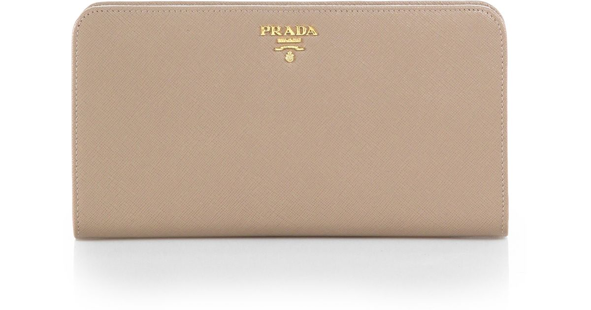Prada Large Saffiano Leather Wallet in Beige (CAMMEO-NUDE) | Lyst