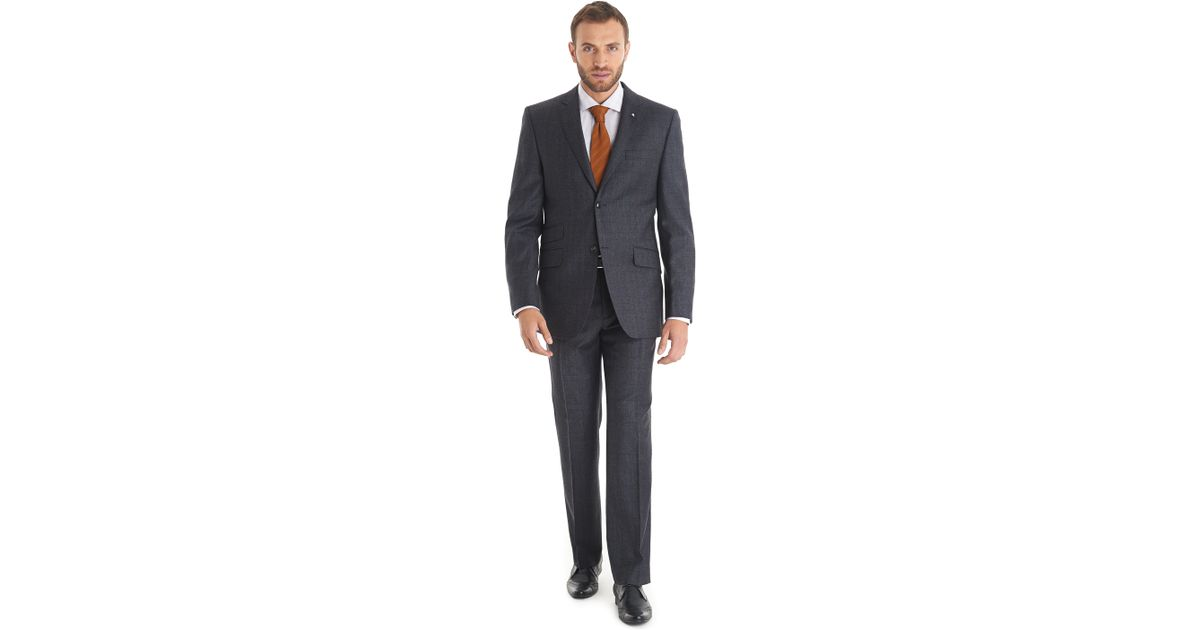 b6ff865aa Ted Baker Tailored Fit Charcoal Check Suit in Gray for Men - Lyst
