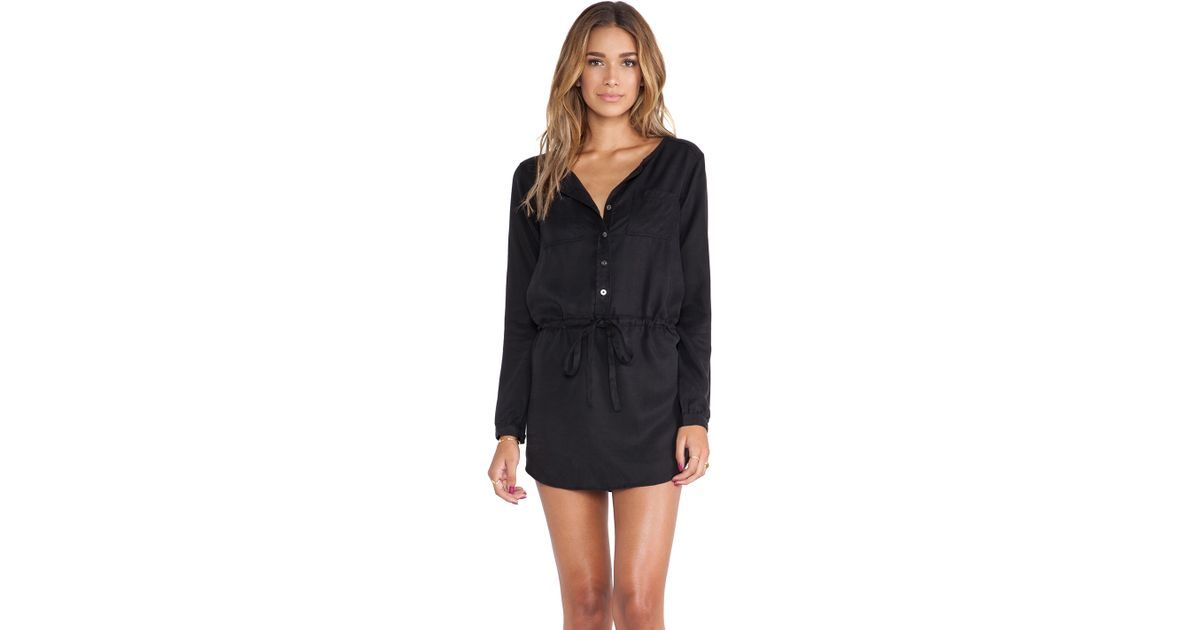 a75d80eee1c7 Michael Stars Button Down Shirt Dress in Black - Lyst