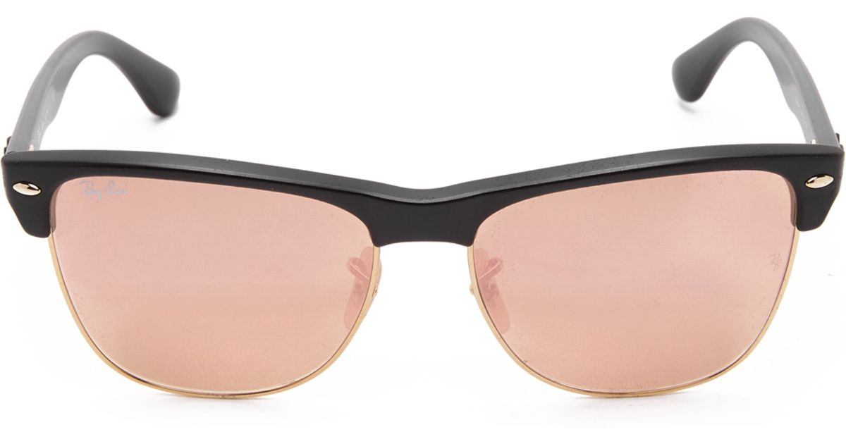 Lyst Ray Ban Oversized Mirrored Clubmaster Sunglasses In