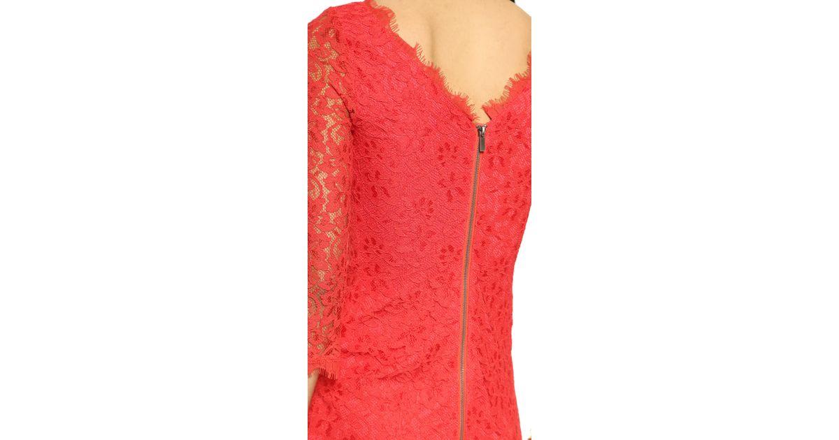 Lyst - Diane Von Furstenberg Zarita Lace Dress - Hot Coral in Pink