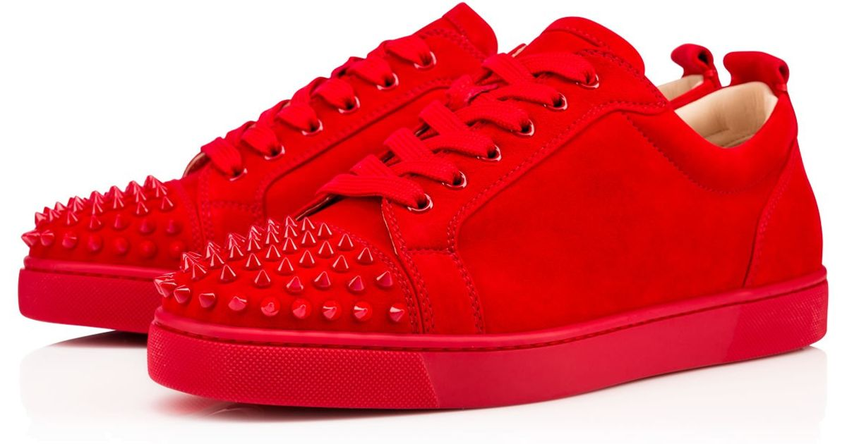 christian louboutin men shoes replica - Christian louboutin Louis Junior Spikes Men's Flat in Red for Men ...