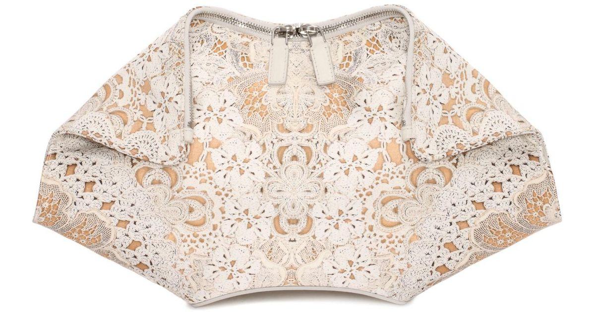 Lyst Alexander Mcqueen Crochet Lace Print De Manta Clutch In White