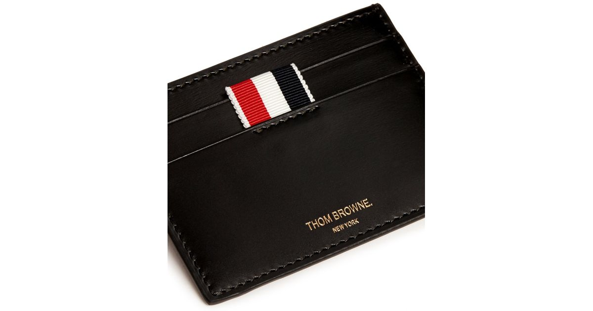 Black Single Card Holder Thom Browne PELVLZjW7D