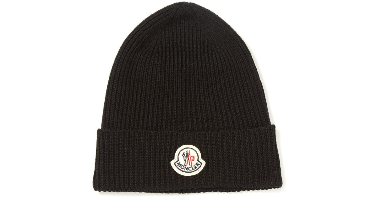 314575c2b73 Lyst - Moncler Black Ribbed-knit Wool Beanie Hat in Black for Men