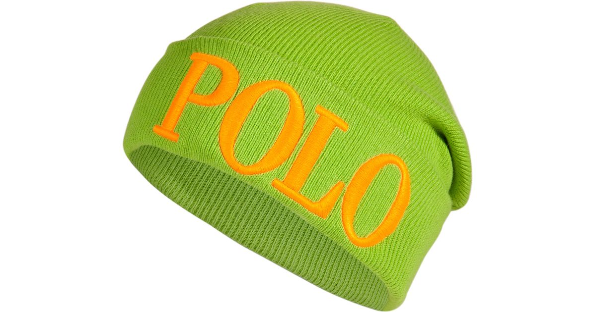 8d48c034 Polo Ralph Lauren Knit Logo Beanie - Green in Green for Men - Lyst