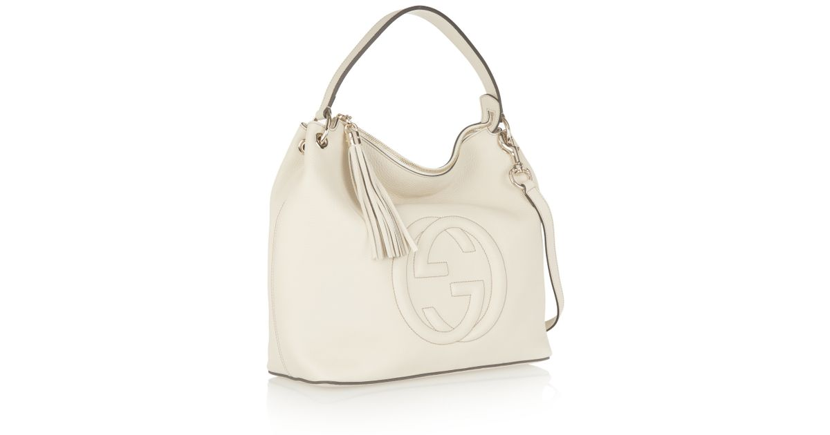 ae42b8c90 Gucci Soho Leather Hobo Bag in Natural - Lyst
